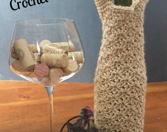 Crochet Pattern for wine tote - Splatter Stitch Wine Bottle Tote - PDF Crochet Pattern