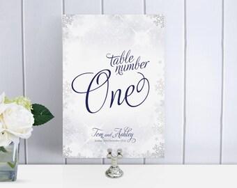 Snowflake / Winter wedding Custom Table Numbers / Names