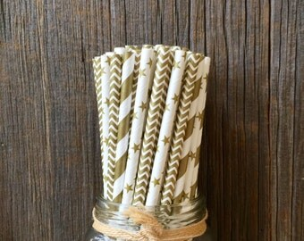75 Gold Stripe, Chevron, and Star Paper Straws, Holiday Straw Combo, Wedding, Anniversary Supply, Free Shipping!