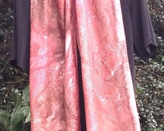 Silk Scarf, Hand Painted, Pink, Salmon, And Brown, Free Shipping!