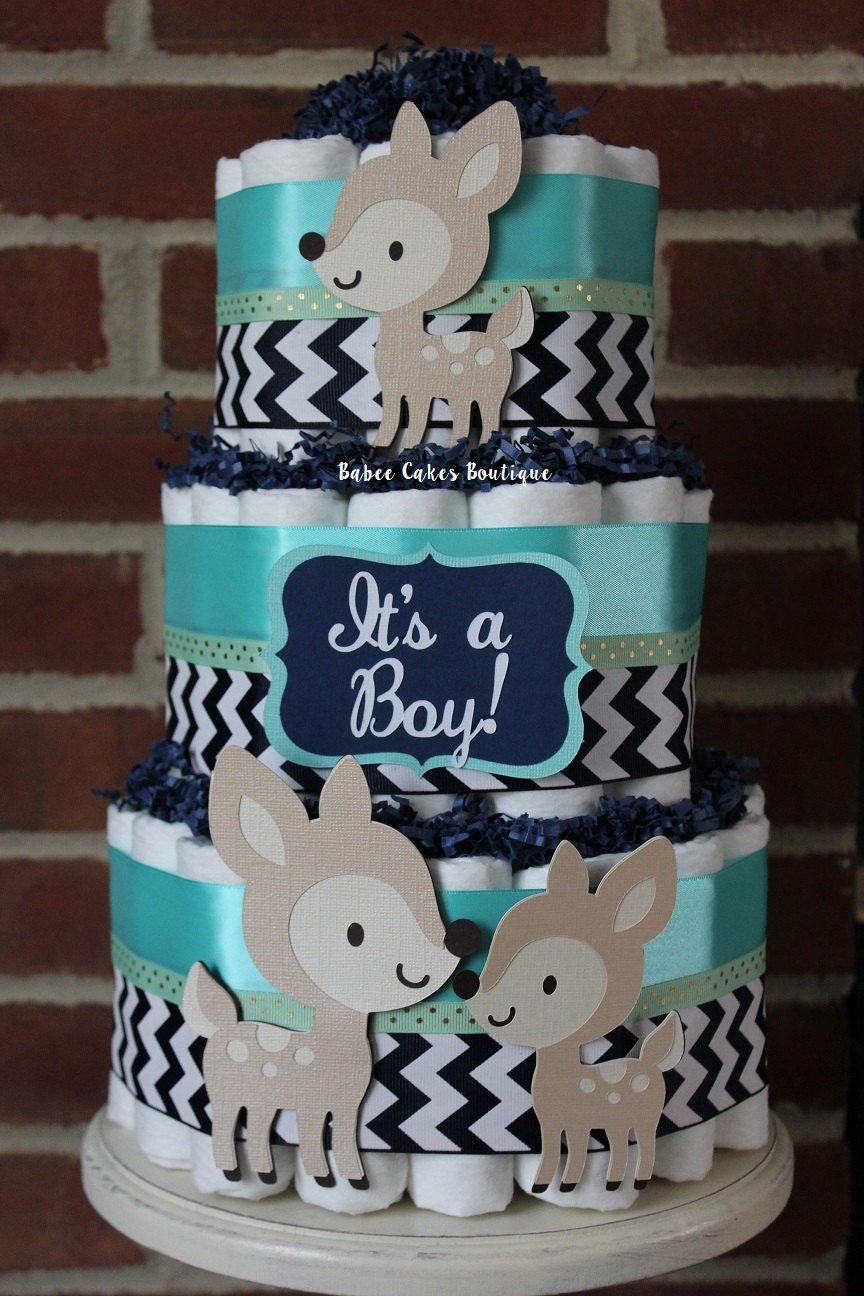 3 Tier Navy Teal And Mint Woodland Deer Boys By