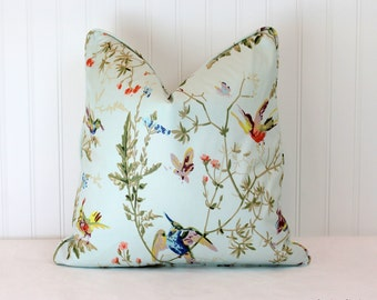 One or Both Sides - ONE Cole and Sons Hummingbird Ruban/Cream/Appley/Lilac Pillow Cover with Self Cording