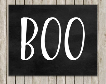 8x10 Halloween Print, Black and White Boo Print, Spooky Wall Art, Digital Art, Poster Print, Holiday Decor, Fall Decor, Instant Download