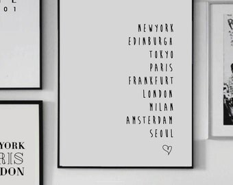 PARIS NEWYORK LONDON ... custom city print  - Scandinavian print - Wall art - City print - Home decor - Custom City - Letter Print