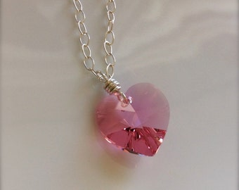 Pink Crystal Heart Necklace / Heart Pendant / Sterling Silver Necklace / Valentine Necklace / Pink Heart Pendant Necklace