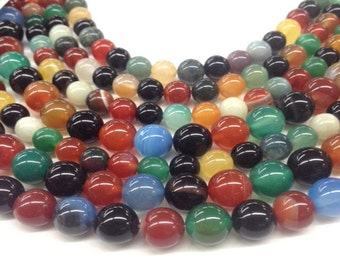"Multi-Colored Stone Round Beads 8mm & 10mm - 15.5""L"