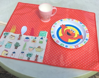 Placemat with cutlery pockets, roll-up placemat, laminated cotton child's placemat, portable placemat with cutlery pockets, picnic placemats
