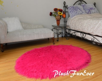 plush long round area rug nursery rug decor hot pink mongolian furry accents modern sheepskin flokati