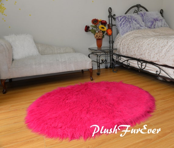 Plush Long Round Area Rug Nursery Rug Decor Hot Pink Mongolian