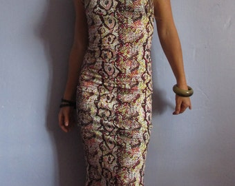 Tight-fitting animal print long dress