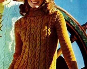 Fisherman Cable Turtleneck Sweater Vintage Knitting Pattern Download