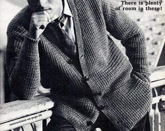 Men's Cardigan Vintage Knitting Pattern Download