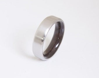 Mens Wood Wedding Band // Titanium Wood Ring // Alternative Wedding Band // Men's wood ring