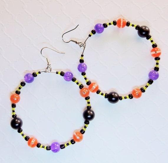Sears Canada Wedding Gift Registry: Items Similar To Hoop Earrings In Orange Purple And Black