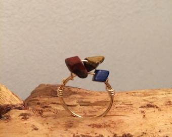 Multistone boho ring
