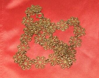 15% Off SALE! Victorian Antique Gilt Gilded Brass Flowers Necklace-Filigree Floral Necklace-