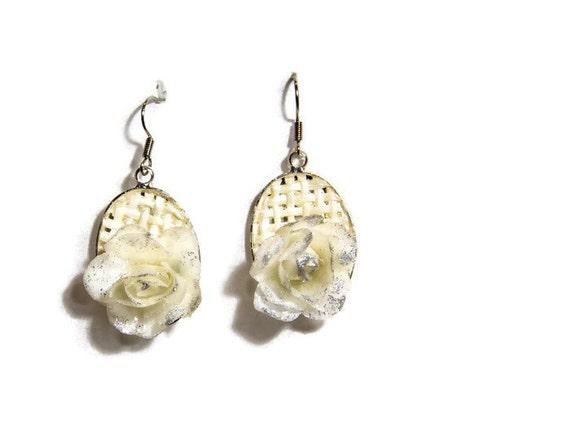 White Rose Dangle Wedding Earrings  by GunaDesign