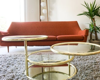 S O L D | Modernist Vintage Brass & Glass 4-Tier Swiveling Coffee Table | Milo Baughman Era