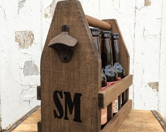 Personalized Initial Wooden 6 Pack Beer Tote for Craft Beer Gifts