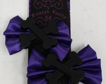 CROSSBONES HAIR BOW / Bow Tie Black & Purple