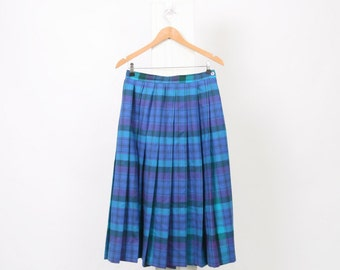 Blue TARTAN Skirt PLAID Check Vintage Womens Au 12 US 8 Highland 80s 90s Midi Wool High Waisted Wrap Purple Green Kilt Black Grunge Punk