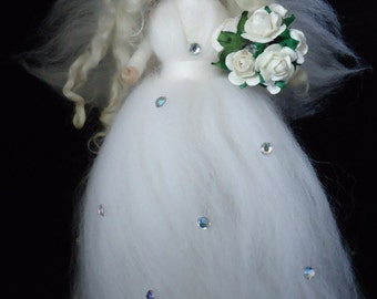 Needle felted Bride / Wedding Fairy - Waldorf style