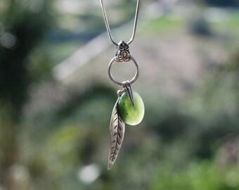 Green Jade Semi-precious gemstone necklace Silver Circle leaf Necklace Boho Gemstone jewelry Jade jewelry