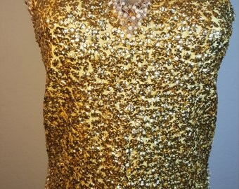 FREE  SHIPPING  1950 Sequin Bead Blouse