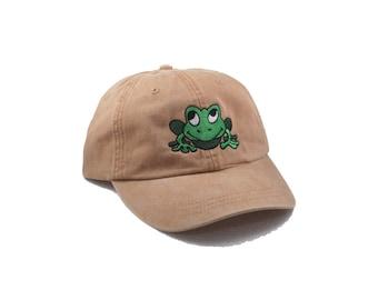 Bullfrog embroidered hat, baseball cap, toad, wildlife, frog hat, dad hat, mom cap, nature