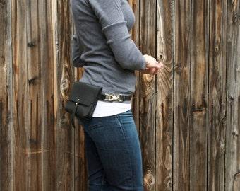 The Bogotá - Hip Bag and Pouch Purse in Deep Black Kodiak Leather