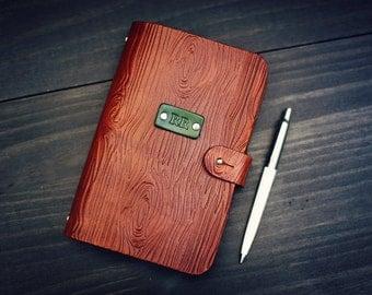 Personalized Leather journal, Notebook, Travel Diary, Journal, Sketchbook, Brown stain, Woodgrain, tree, wood handmade, Custom name initials