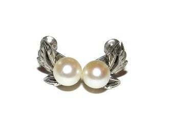 Sterling Silver Faux Pearl Screw Earrings, Sterling Earrings, Pearl Earrings,