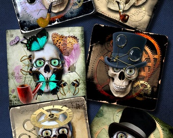 Halloween Steampunk Skull - 4x4 inch tiles - Printable Digital Collage Sheets for Scrapbooking, Coasters, Stickers,  Arts and Crafts CP-967