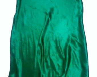 Emerald Green Silk Bias Cut A-Line Skirt