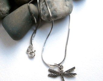 Dragonfly Pendant - Vintage Necklace - Sterling Silver Necklace