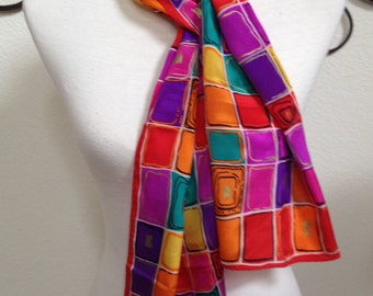 "ECHO Silk Long Oblong Scarf Red Purple Orange Green Squares Geometric Abstract Gold Accents 10"" x 52"""