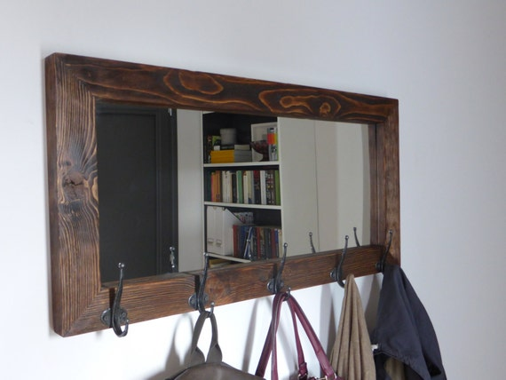 Rustic Foyer Mirror : Mirror coat rack rustic antique hooks entryway