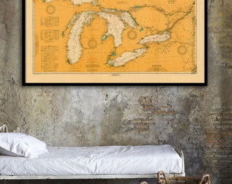 "Great Lakes nautical map, Vintage 1916 Great Lakes nautical map/chart reprint - 6 sizes up to 72""x48 """