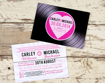 Vinyl Record Wedding Invitation postcards - 1950s - Music Wedding