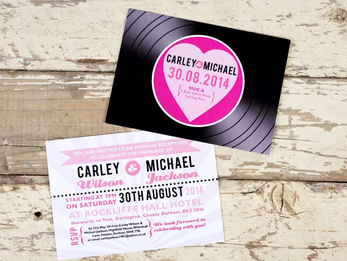 Record Wedding Invitations: Vinyl Record Wedding Invitation Postcards 1950s Music