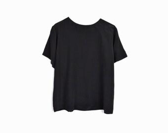 Vintage Black Silk Tee / Minimalist Silk Blouse - Petite Medium