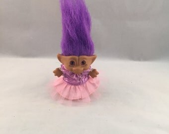 Vintage Troll Doll, Ballerina With Purple Hair