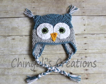 Crochet Owl Hat, Owl Beanie Owl Hat Boys Girls Owl hat Newborn Baby Owl Beanie Hat Blue Gray Baby Owl hat Newborn Owl Hat Photo Props