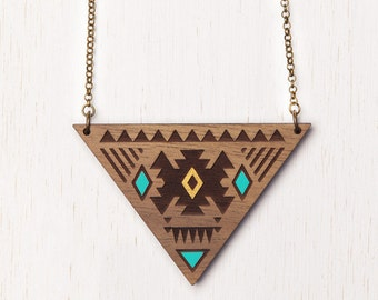 Aztec - Geometric Tribal Wood Necklace - Aqua & Gold - laser cut