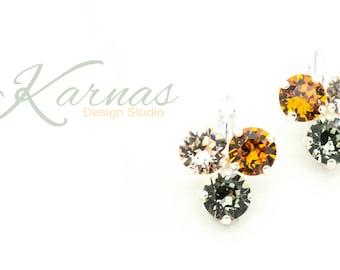 AUTUMN'S ARRIVAL 8mm Crystal Chaton Triple Stone Drop Earrings Swarovski Elements *Pick Your Finish *Karnas Design Studio *Free Shipping*