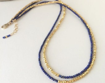Bestfriend Necklace-Popular Necklace-Feminine Jewelry-Dark Blue Necklace-Gold Lapis Necklace-Romantic Wife Gift-Womens Ocean Jewelry-My Wife