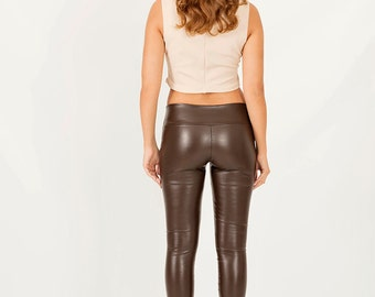 Lambskin leggings | Leather Leggings | Brown Leggings | Faux Leather Leggings | Leather Look Leggings | Biker Leggings| Liquid leggings |