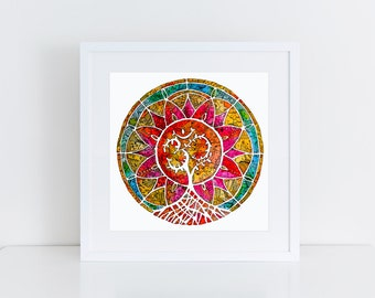Tree of Life Mandala Signed Print, Yoga Art, Om Mandala, Zen Home Decor, India