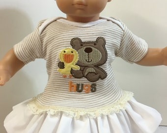 """15 inch Bitty Baby Clothes, TEDDY BEAR """"Hugs"""" and Baby Duck Ruffle and Lace Trim Dress, 15 inch AG American Doll Bitty Baby Doll & Twin Doll"""