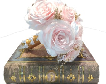 Blush Bridal bouquet, Peony and roses paper wedding bouquet, Shabby chic gold and blush bouquet, Throw bouquet